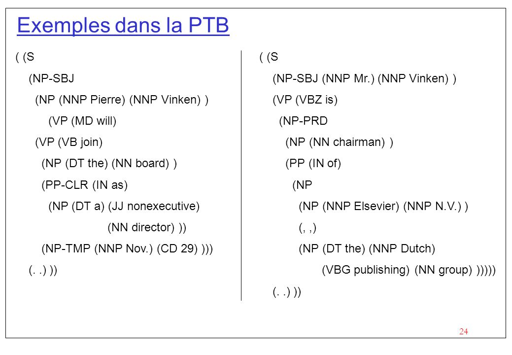24 Exemples dans la PTB ( (S (NP-SBJ (NP (NNP Pierre) (NNP Vinken) ) (VP (MD will) (VP (VB join) (NP (DT the) (NN board) ) (PP-CLR (IN as) (NP (DT a)