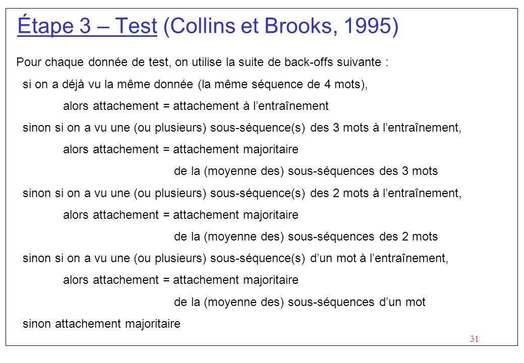 31 Étape 3 – Test (Collins et Brooks, 1995) Pour chaque donnée de test, on utilise la suite de back-offs suivante : si on a déjà vu la même donnée (la même séquence de 4 mots), alors attachement = attachement à lentraînement sinon si on a vu une (ou plusieurs) sous-séquence(s) des 3 mots à lentraînement, alors attachement = attachement majoritaire de la (moyenne des) sous-séquences des 3 mots sinon si on a vu une (ou plusieurs) sous-séquence(s) des 2 mots à lentraînement, alors attachement = attachement majoritaire de la (moyenne des) sous-séquences des 2 mots sinon si on a vu une (ou plusieurs) sous-séquence(s) dun mot à lentraînement, alors attachement = attachement majoritaire de la (moyenne des) sous-séquences dun mot sinon attachement majoritaire