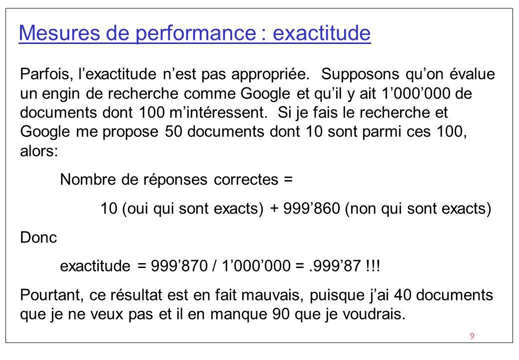 9 Mesures de performance : exactitude Parfois, lexactitude nest pas appropriée.