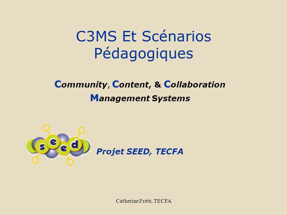 Catherine Frété, TECFA Le Projet Seed: Objectifs http://ilios.cti.gr/seed/default.asp http://ilios.cti.gr/seed/default.asp Générer des communautés de pratique intégrées: enseignants, chercheurs, programmeurs apportant chacuns leur expertise pédagogique et technologique pour concevoir, développer et implémenter des activités novatrices à petite échelle.