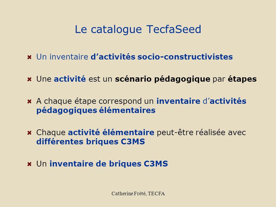 Catherine Frété, TECFA Le catalogue TecfaSeed Un inventaire dactivités socio-constructivistes Une activité est un scénario pédagogique par étapes A ch