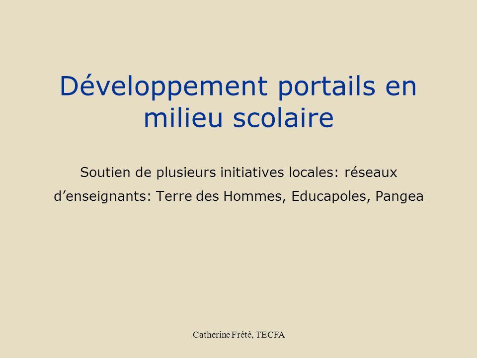 Catherine Frété, TECFA Développement portails en milieu scolaire Soutien de plusieurs initiatives locales: réseaux denseignants: Terre des Hommes, Edu