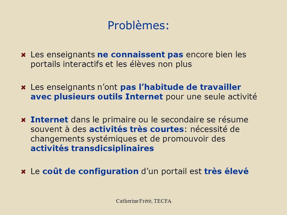 Catherine Frété, TECFA Problèmes: Les enseignants ne connaissent pas encore bien les portails interactifs et les élèves non plus Les enseignants nont