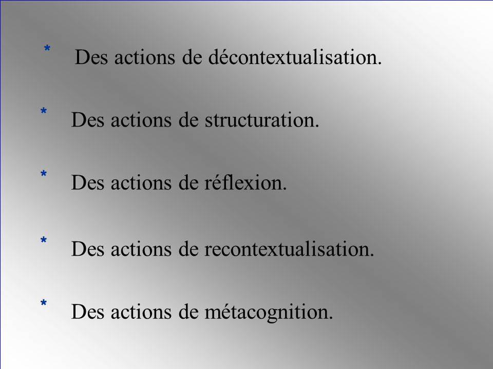 * Des actions de structuration. * Des actions de réflexion. * Des actions de décontextualisation. * Des actions de recontextualisation. * Des actions