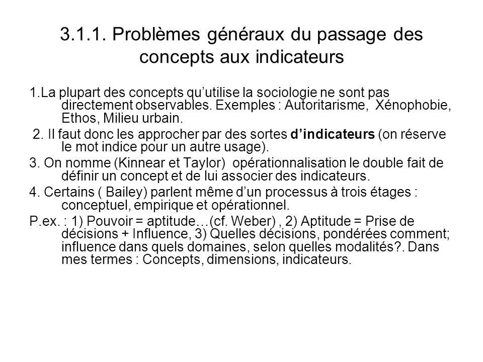 3.1.1. Problèmes généraux du passage des concepts aux indicateurs 1.La plupart des concepts quutilise la sociologie ne sont pas directement observable