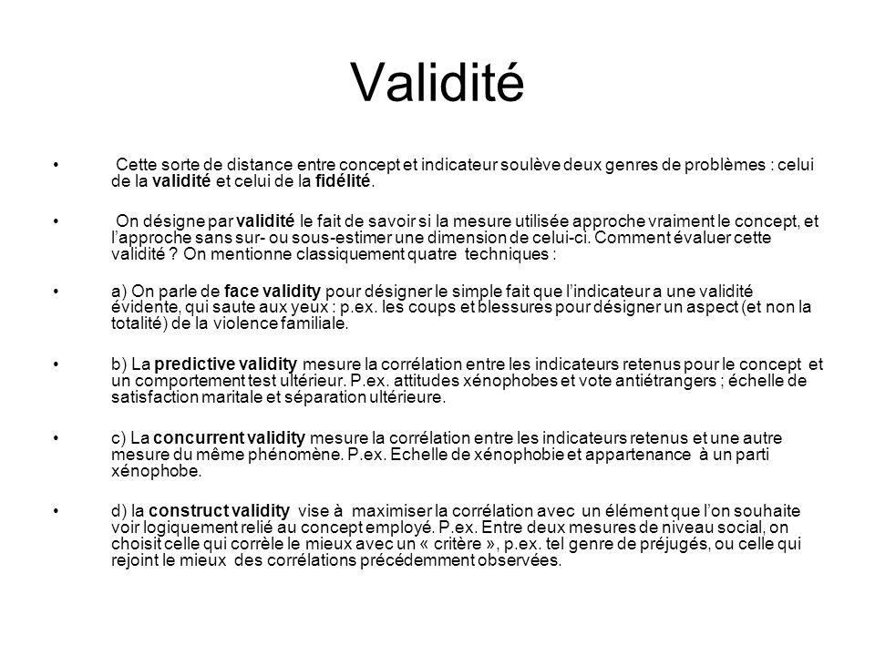 Validité Cette sorte de distance entre concept et indicateur soulève deux genres de problèmes : celui de la validité et celui de la fidélité. On désig