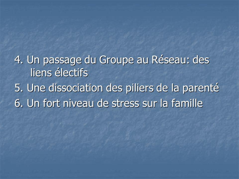 4. Un passage du Groupe au Réseau: des liens électifs 5. Une dissociation des piliers de la parenté 6. Un fort niveau de stress sur la famille