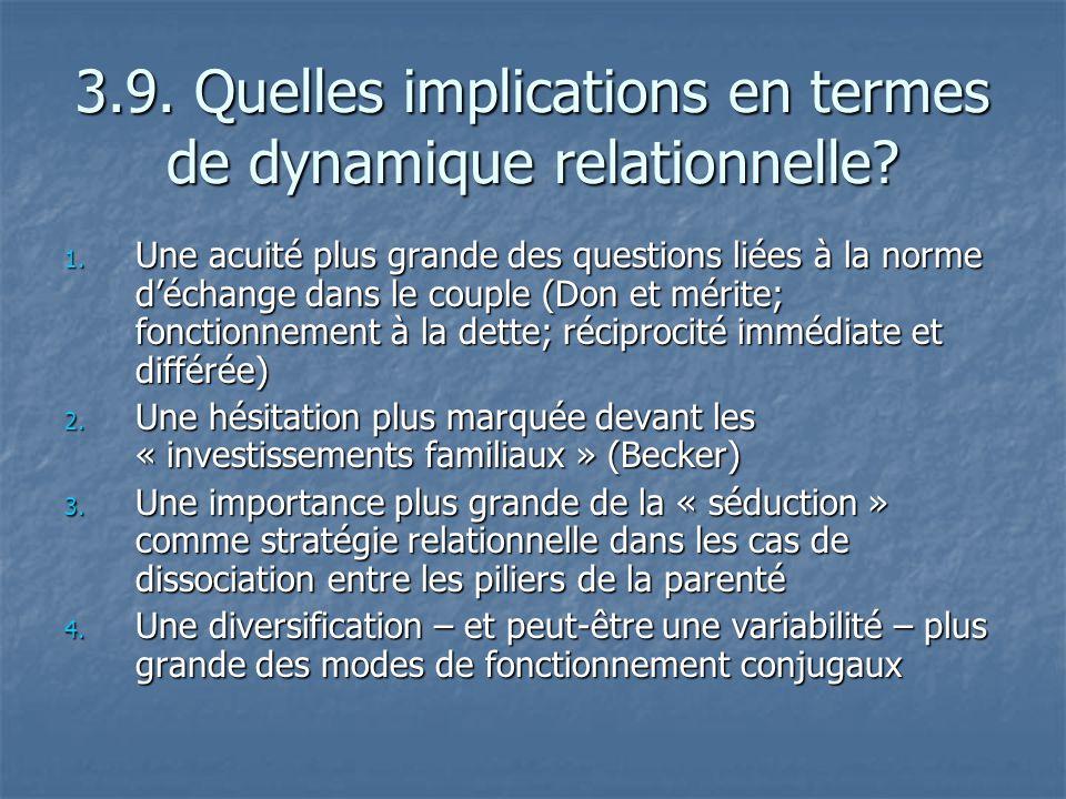 3.9. Quelles implications en termes de dynamique relationnelle? 1. Une acuité plus grande des questions liées à la norme déchange dans le couple (Don