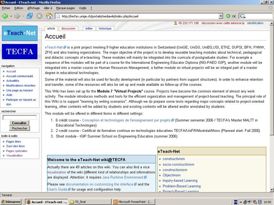 Exemple Tecfa MediaWiki-Web Service avec NuSOAP: http://tecfax.unige.ch/portails/mediawiki/extensions/WebService/ http://tecfax.unige.ch/portails/mediawiki/extensions/WebService/ La librairie PHP NuSOAP: http://sourceforge.net/projects/nusoap/http://sourceforge.net/projects/nusoap/