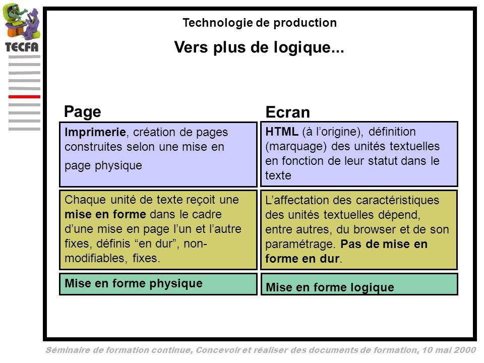 Séminaire de formation continue, Concevoir et réaliser des documents de formation, 10 mai 2000 Technologie de production Vers plus de logique...