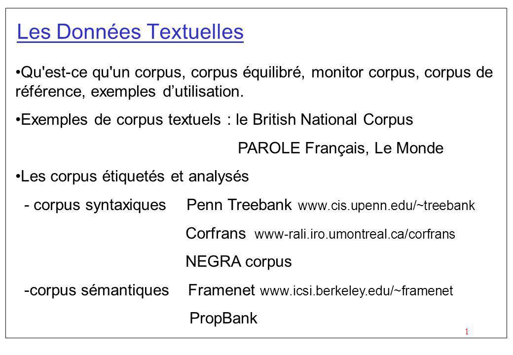 1 Les Données Textuelles Qu est-ce qu un corpus, corpus équilibré, monitor corpus, corpus de référence, exemples dutilisation.