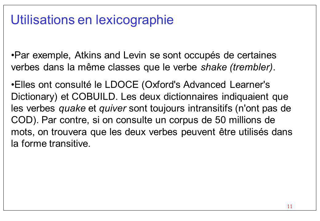 11 Utilisations en lexicographie Par exemple, Atkins and Levin se sont occupés de certaines verbes dans la même classes que le verbe shake (trembler).