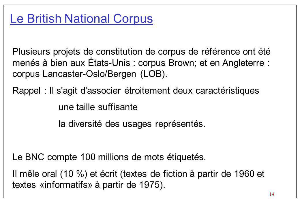 14 Le British National Corpus Plusieurs projets de constitution de corpus de référence ont été menés à bien aux États-Unis : corpus Brown; et en Angleterre : corpus Lancaster-Oslo/Bergen (LOB).