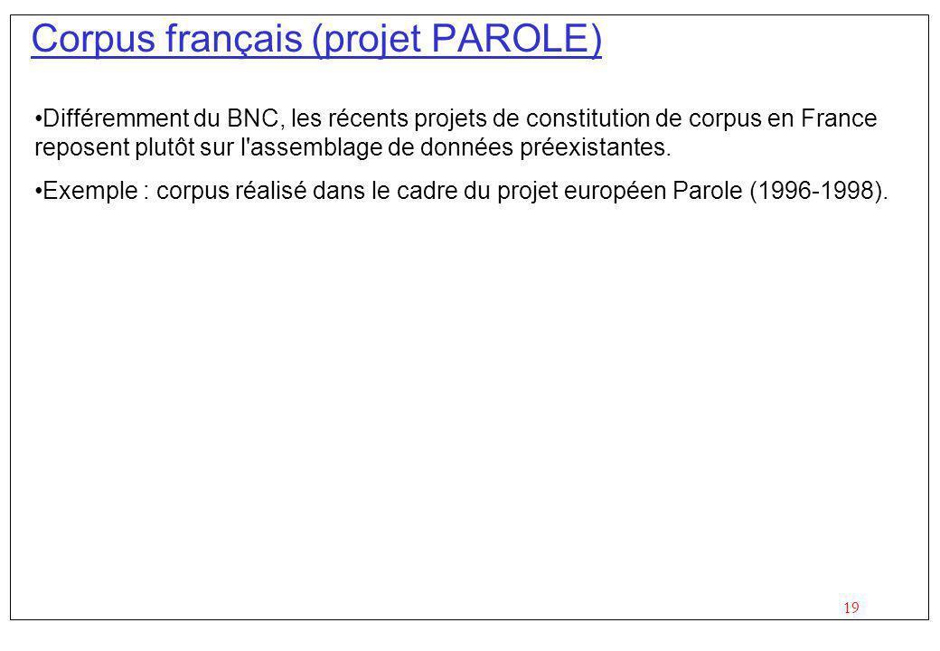 19 Corpus français (projet PAROLE) Différemment du BNC, les récents projets de constitution de corpus en France reposent plutôt sur l assemblage de données préexistantes.