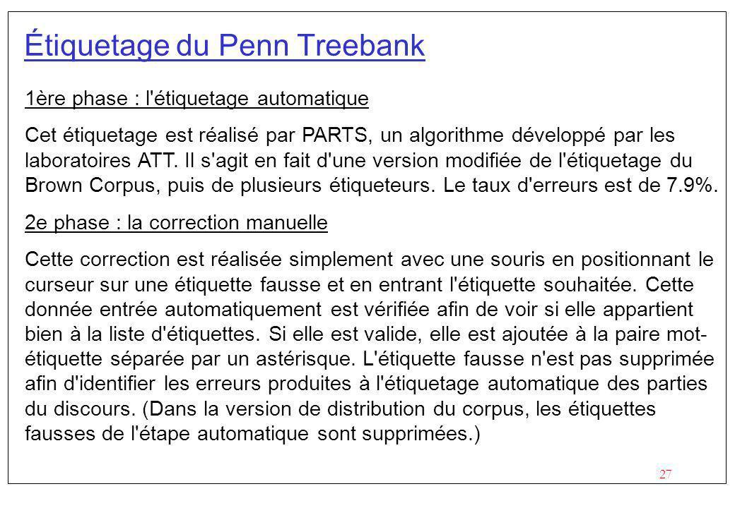 27 Étiquetage du Penn Treebank 1ère phase : l étiquetage automatique Cet étiquetage est réalisé par PARTS, un algorithme développé par les laboratoires ATT.