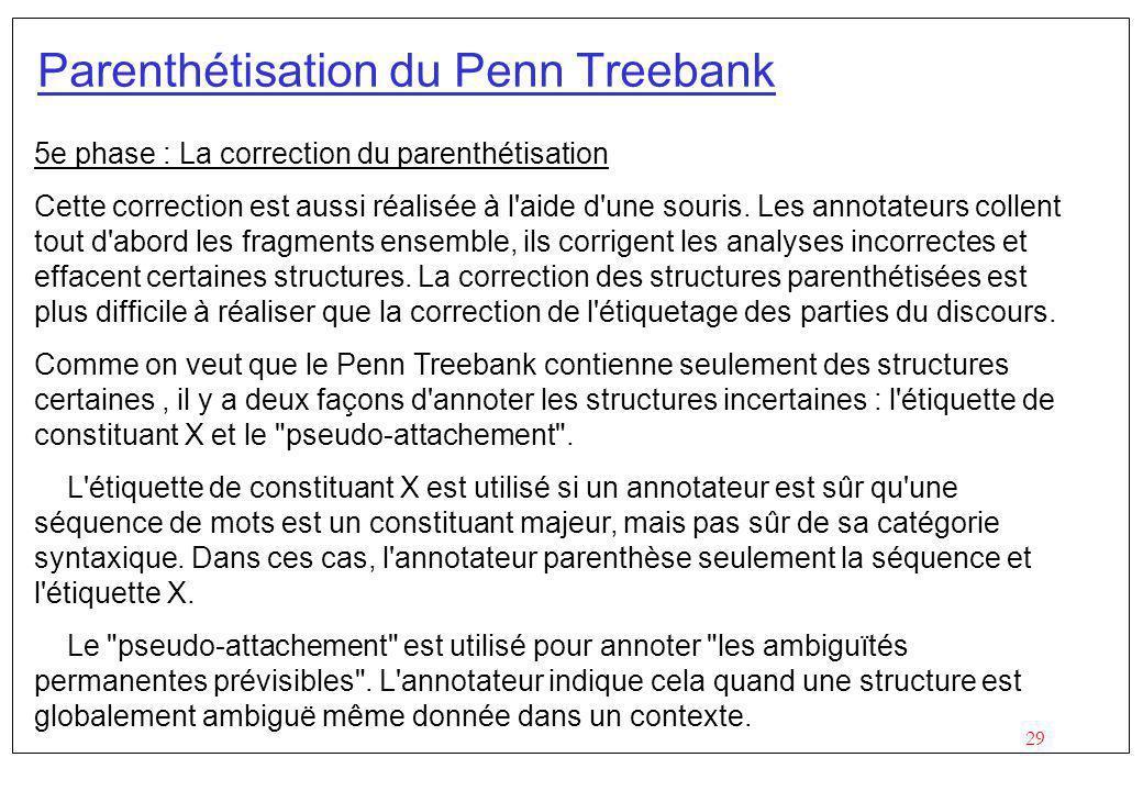 29 Parenthétisation du Penn Treebank 5e phase : La correction du parenthétisation Cette correction est aussi réalisée à l aide d une souris.