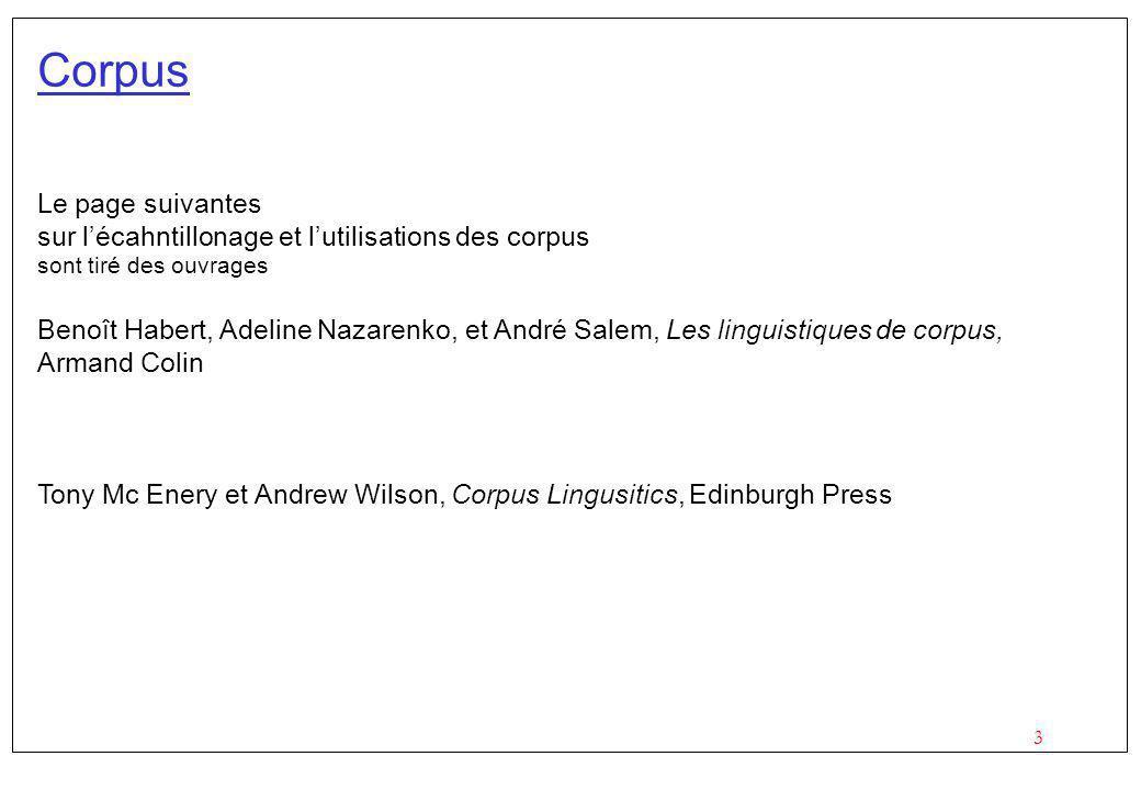 3 Corpus Le page suivantes sur lécahntillonage et lutilisations des corpus sont tiré des ouvrages Benoît Habert, Adeline Nazarenko, et André Salem, Les linguistiques de corpus, Armand Colin Tony Mc Enery et Andrew Wilson, Corpus Lingusitics, Edinburgh Press