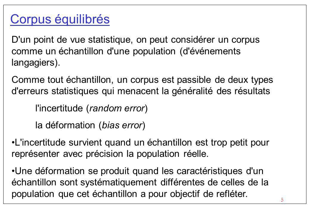 5 Corpus équilibrés D un point de vue statistique, on peut considérer un corpus comme un échantillon d une population (d événements langagiers).