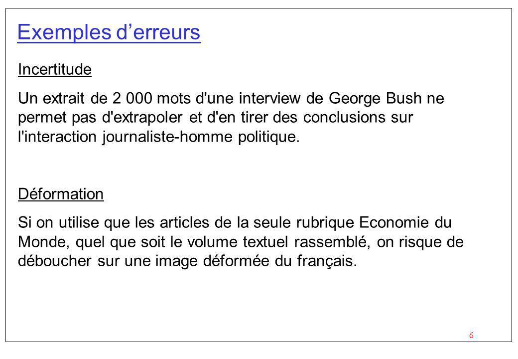 6 Exemples derreurs Incertitude Un extrait de 2 000 mots d une interview de George Bush ne permet pas d extrapoler et d en tirer des conclusions sur l interaction journaliste-homme politique.