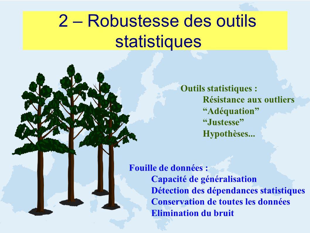 2 – Robustesse des outils statistiques Fouille de données : Capacité de généralisation Détection des dépendances statistiques Conservation de toutes l