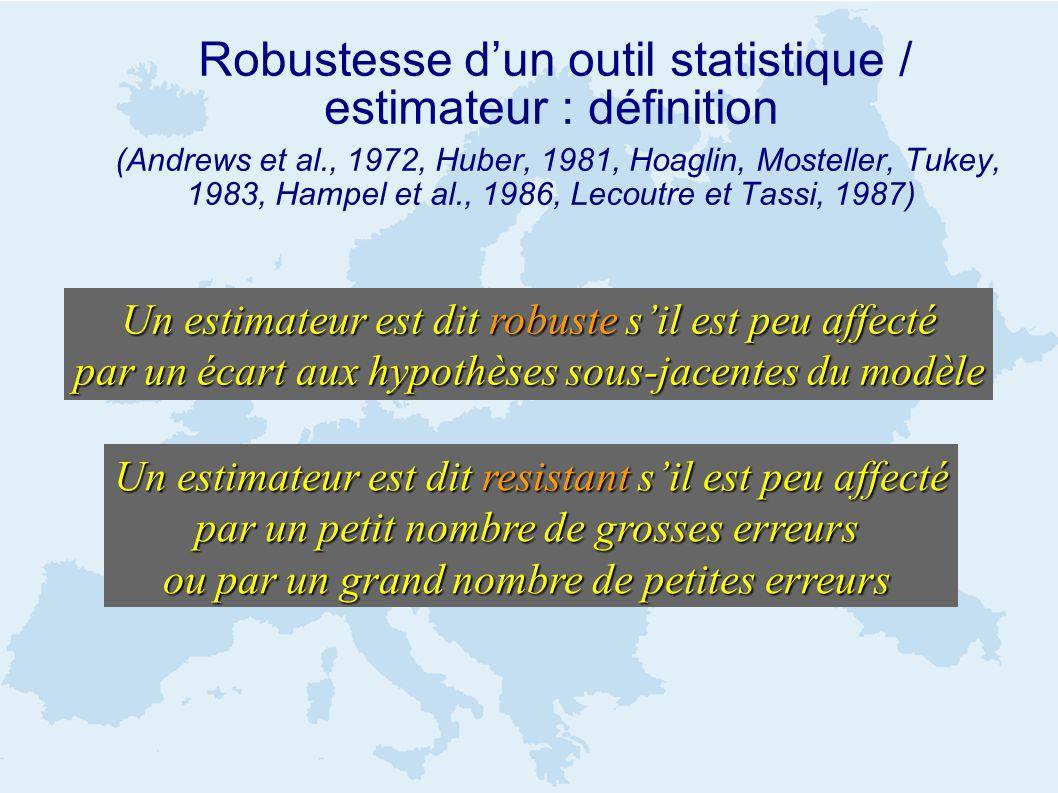 Robustesse dun outil statistique / estimateur : définition (Andrews et al., 1972, Huber, 1981, Hoaglin, Mosteller, Tukey, 1983, Hampel et al., 1986, Lecoutre et Tassi, 1987) Un estimateur est dit resistant sil est peu affecté par un petit nombre de grosses erreurs ou par un grand nombre de petites erreurs Un estimateur est dit robuste sil est peu affecté par un écart aux hypothèses sous-jacentes du modèle