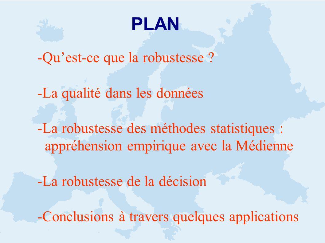 PLAN -Quest-ce que la robustesse ? -La qualité dans les données -La robustesse des méthodes statistiques : appréhension empirique avec la Médienne -La