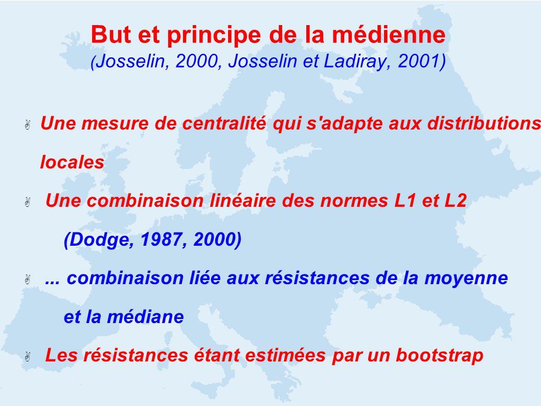 Une mesure de centralité qui s adapte aux distributions locales Une combinaison linéaire des normes L1 et L2 (Dodge, 1987, 2000)...