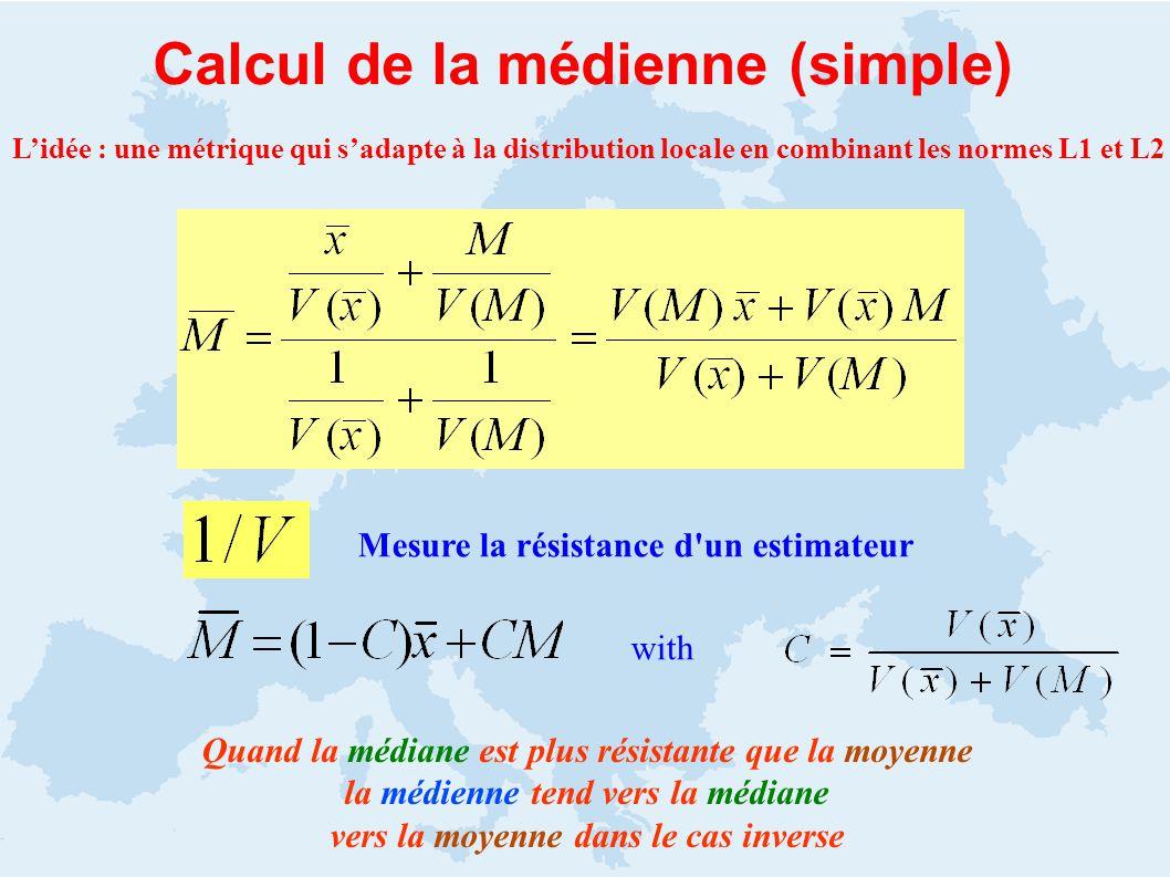 Calcul de la médienne (simple) Quand la médiane est plus résistante que la moyenne la médienne tend vers la médiane vers la moyenne dans le cas inverse Mesure la résistance d un estimateur with Lidée : une métrique qui sadapte à la distribution locale en combinant les normes L1 et L2