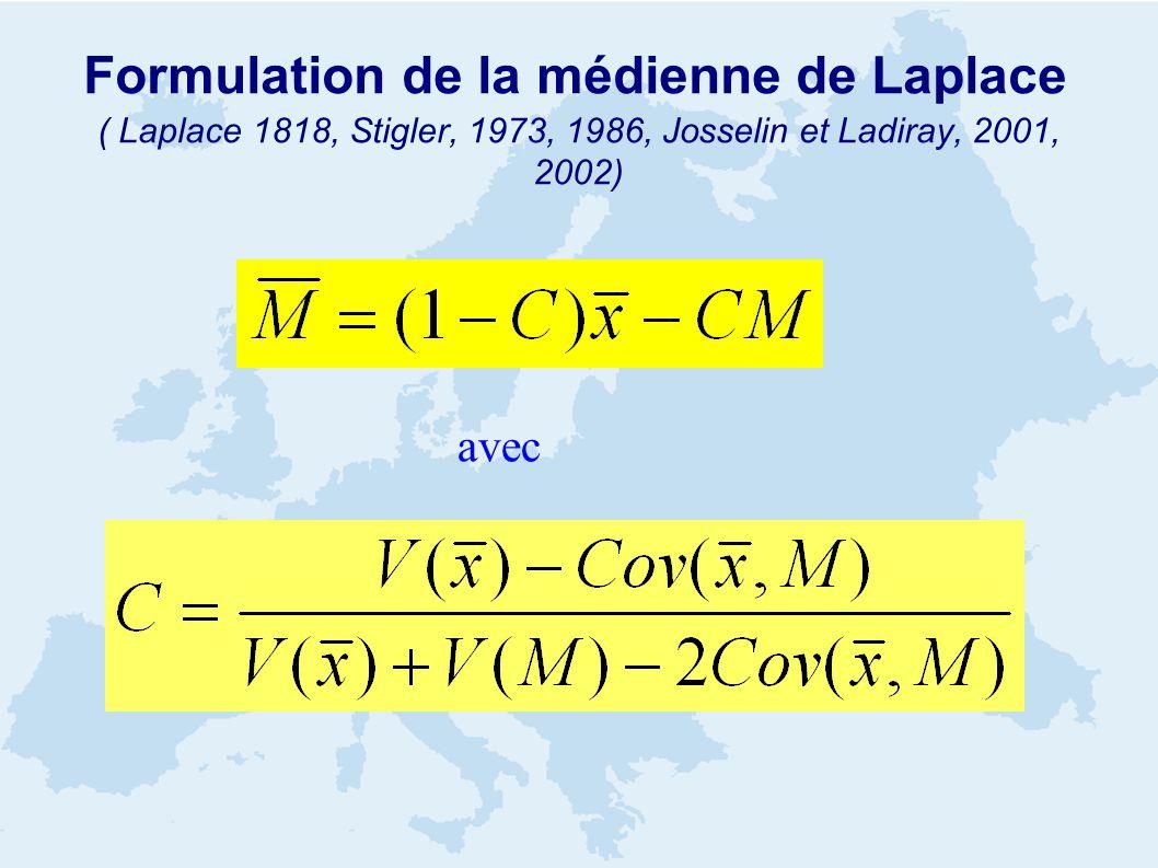 Formulation de la médienne de Laplace ( Laplace 1818, Stigler, 1973, 1986, Josselin et Ladiray, 2001, 2002) avec