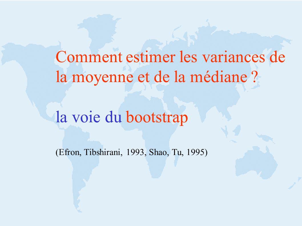 Comment estimer les variances de la moyenne et de la médiane ? la voie du bootstrap (Efron, Tibshirani, 1993, Shao, Tu, 1995)