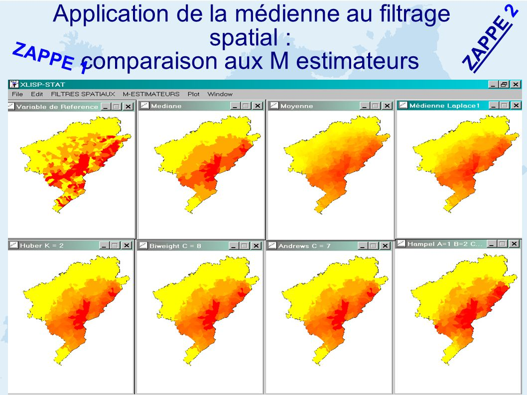 Application de la médienne au filtrage spatial : comparaison aux M estimateurs ZAPPE 2 ZAPPE 1