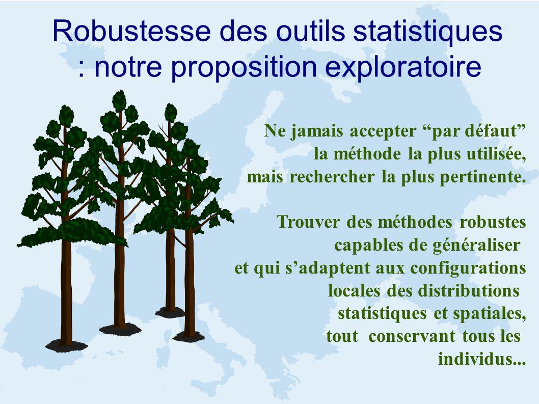Robustesse des outils statistiques : notre proposition exploratoire Ne jamais accepter par défaut la méthode la plus utilisée, mais rechercher la plus pertinente.