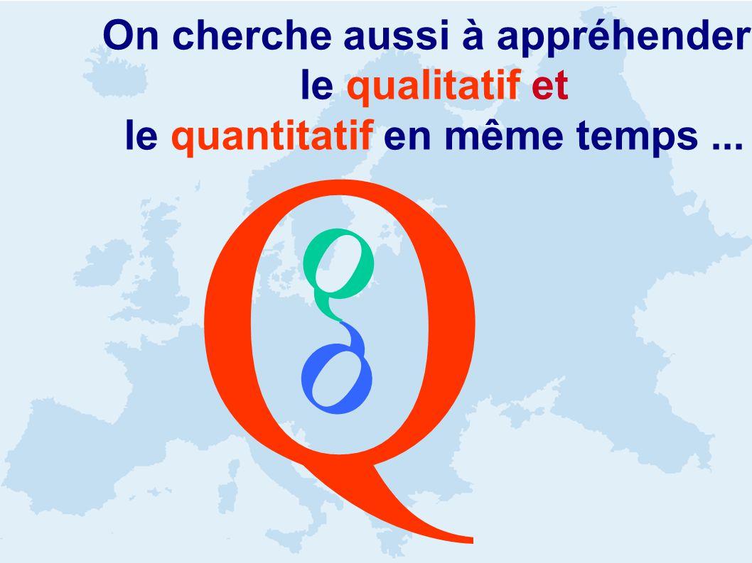 On cherche aussi à appréhender le qualitatif et le quantitatif en même temps... Q Q Q