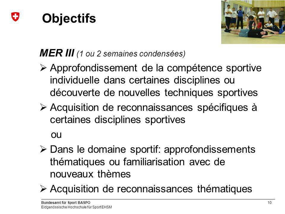 10 Bundesamt für Sport BASPO Eidgenössische Hochschule für Sport EHSM Objectifs MER III (1 ou 2 semaines condensées) Approfondissement de la compétenc
