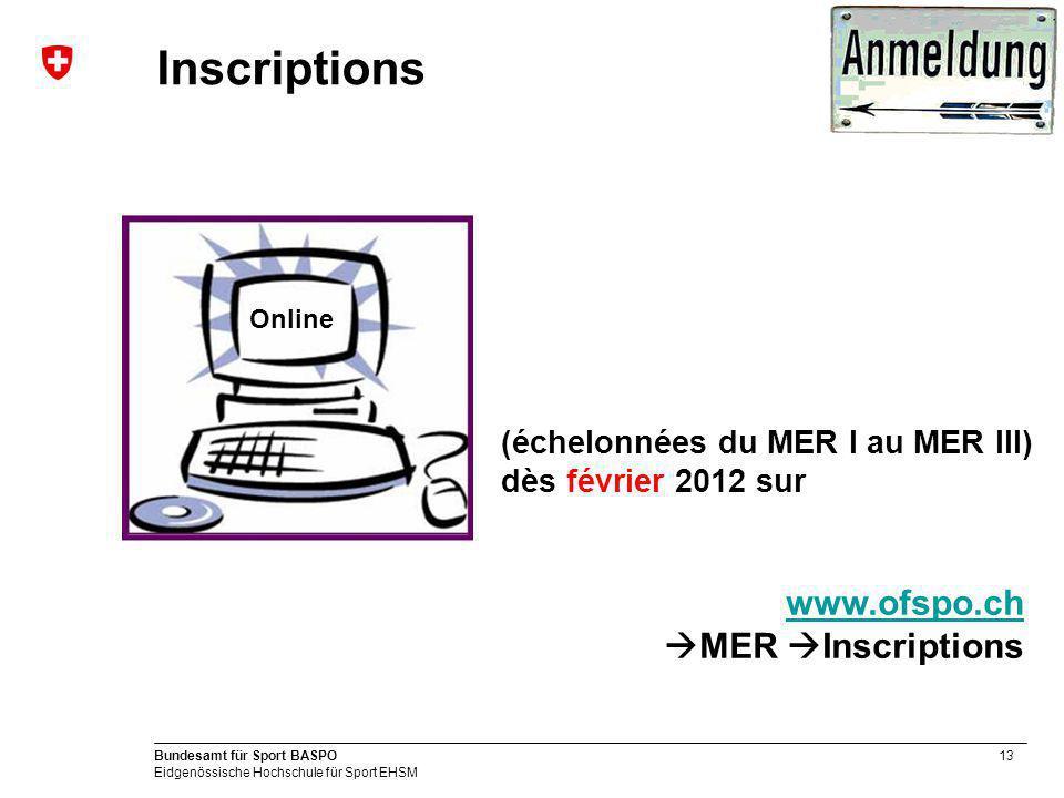 13 Bundesamt für Sport BASPO Eidgenössische Hochschule für Sport EHSM Inscriptions Online (échelonnées du MER I au MER III) dès février 2012 sur www.ofspo.ch www.ofspo.ch MER Inscriptions