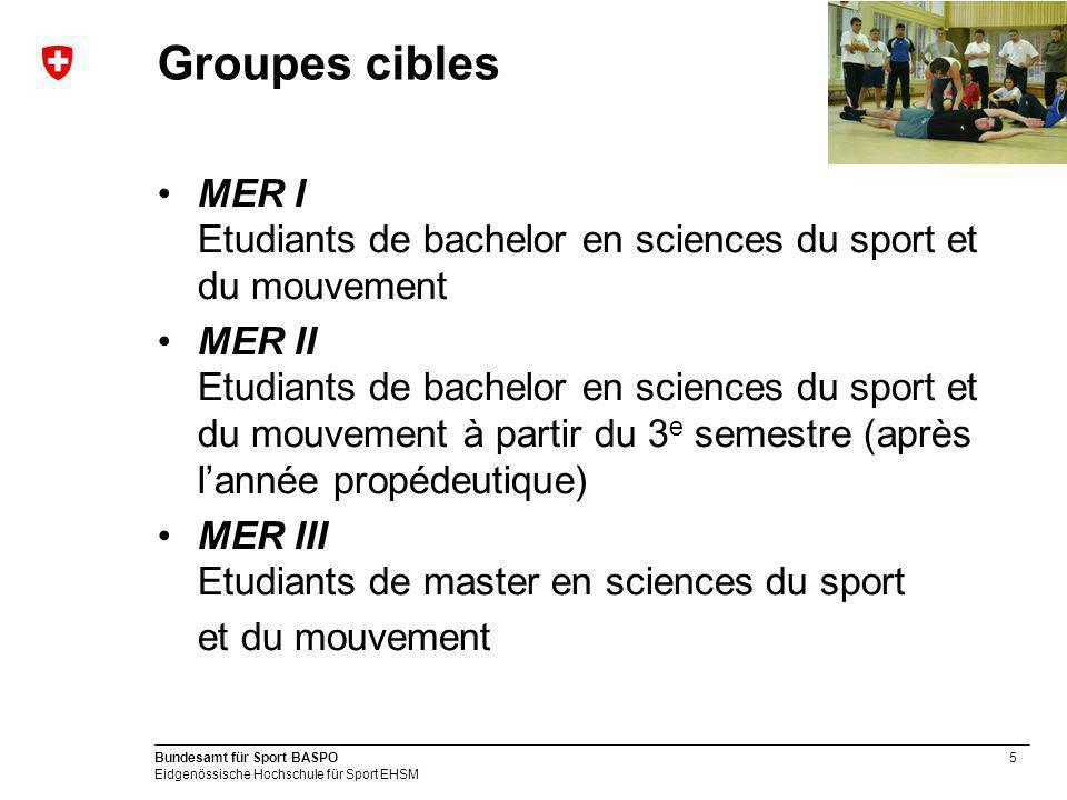 5 Bundesamt für Sport BASPO Eidgenössische Hochschule für Sport EHSM Groupes cibles MER I Etudiants de bachelor en sciences du sport et du mouvement MER II Etudiants de bachelor en sciences du sport et du mouvement à partir du 3 e semestre (après lannée propédeutique) MER III Etudiants de master en sciences du sport et du mouvement