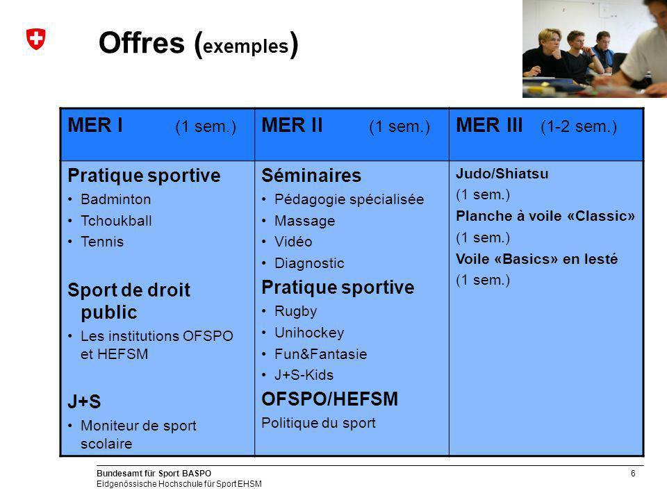 6 Bundesamt für Sport BASPO Eidgenössische Hochschule für Sport EHSM Offres ( exemples ) MER I (1 sem.) MER II (1 sem.) MER III (1-2 sem.) Pratique sp
