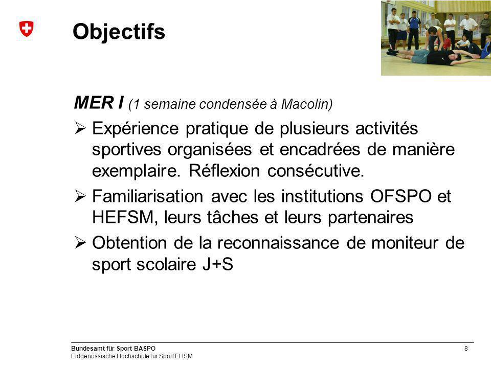 8 Bundesamt für Sport BASPO Eidgenössische Hochschule für Sport EHSM Objectifs MER I (1 semaine condensée à Macolin) Expérience pratique de plusieurs activités sportives organisées et encadrées de manière exemplaire.