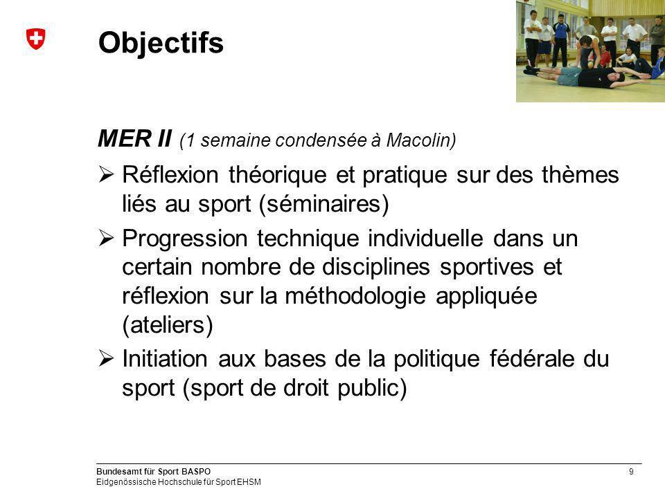 9 Bundesamt für Sport BASPO Eidgenössische Hochschule für Sport EHSM Objectifs MER II (1 semaine condensée à Macolin) Réflexion théorique et pratique
