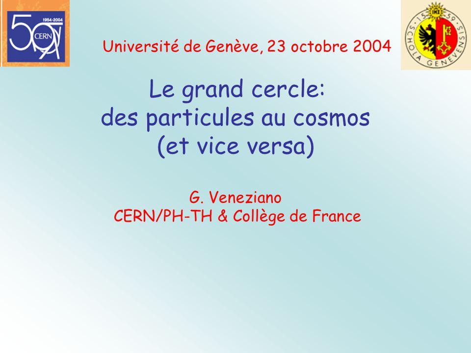 Université de Genève, 23 octobre 2004 Le grand cercle: des particules au cosmos (et vice versa) G. Veneziano CERN/PH-TH & Collège de France
