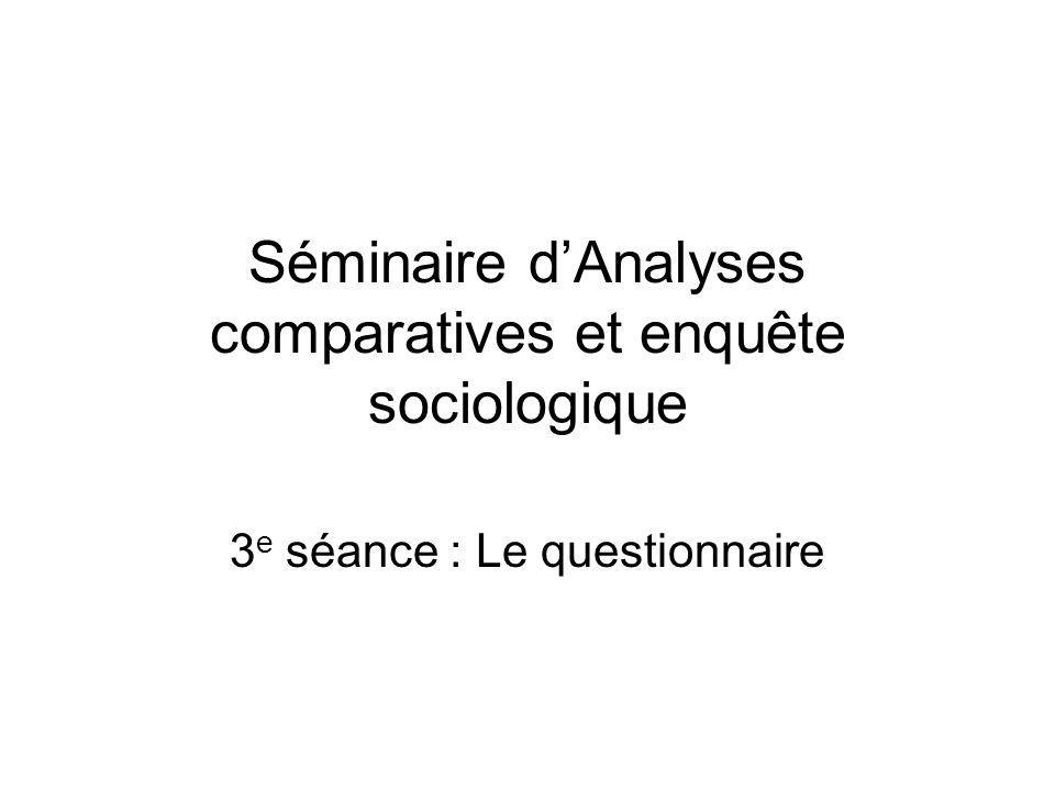 Séminaire dAnalyses comparatives et enquête sociologique 3 e séance : Le questionnaire