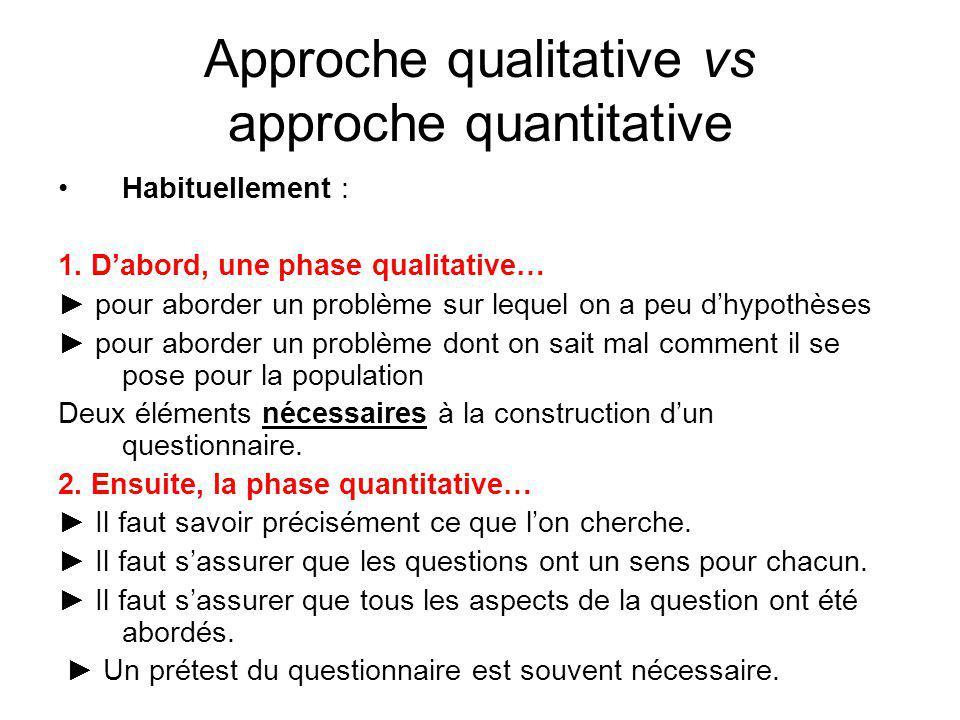 Approche qualitative vs approche quantitative Habituellement : 1. Dabord, une phase qualitative… pour aborder un problème sur lequel on a peu dhypothè