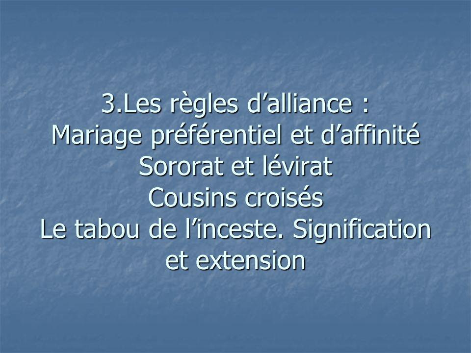 3.Les règles dalliance : Mariage préférentiel et daffinité Sororat et lévirat Cousins croisés Le tabou de linceste. Signification et extension