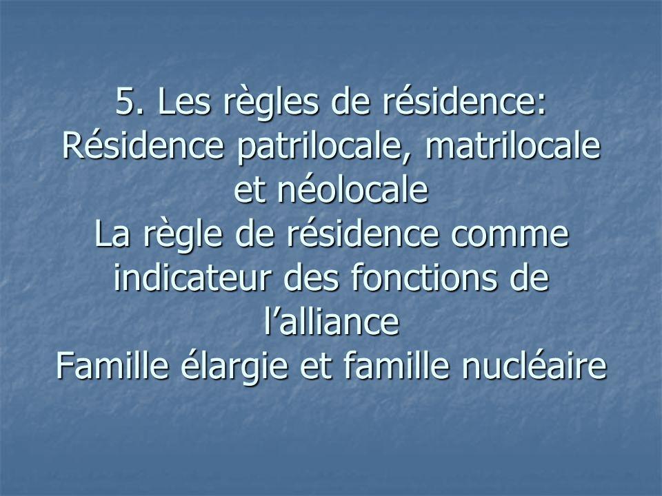 5. Les règles de résidence: Résidence patrilocale, matrilocale et néolocale La règle de résidence comme indicateur des fonctions de lalliance Famille
