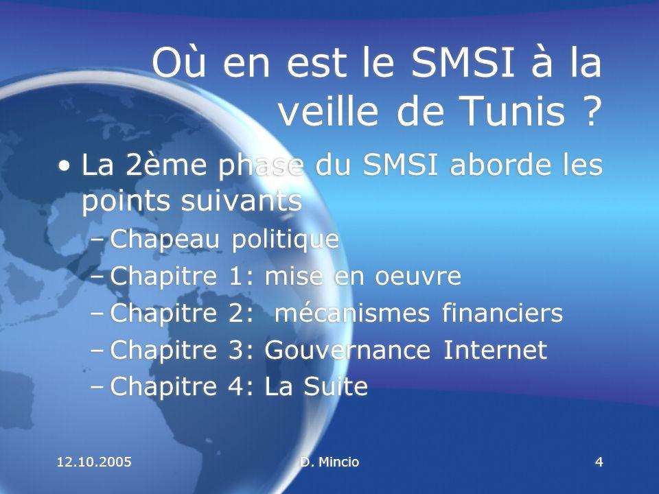 12.10.2005D.Mincio15 Où en est le SMSI à la veille de Tunis .