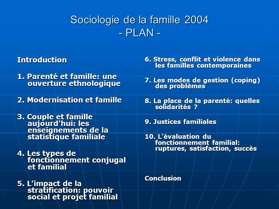 Sociologie de la famille 2004 - PLAN - Introduction 1. Parenté et famille: une ouverture ethnologique 2. Modernisation et famille 3. Couple et famille