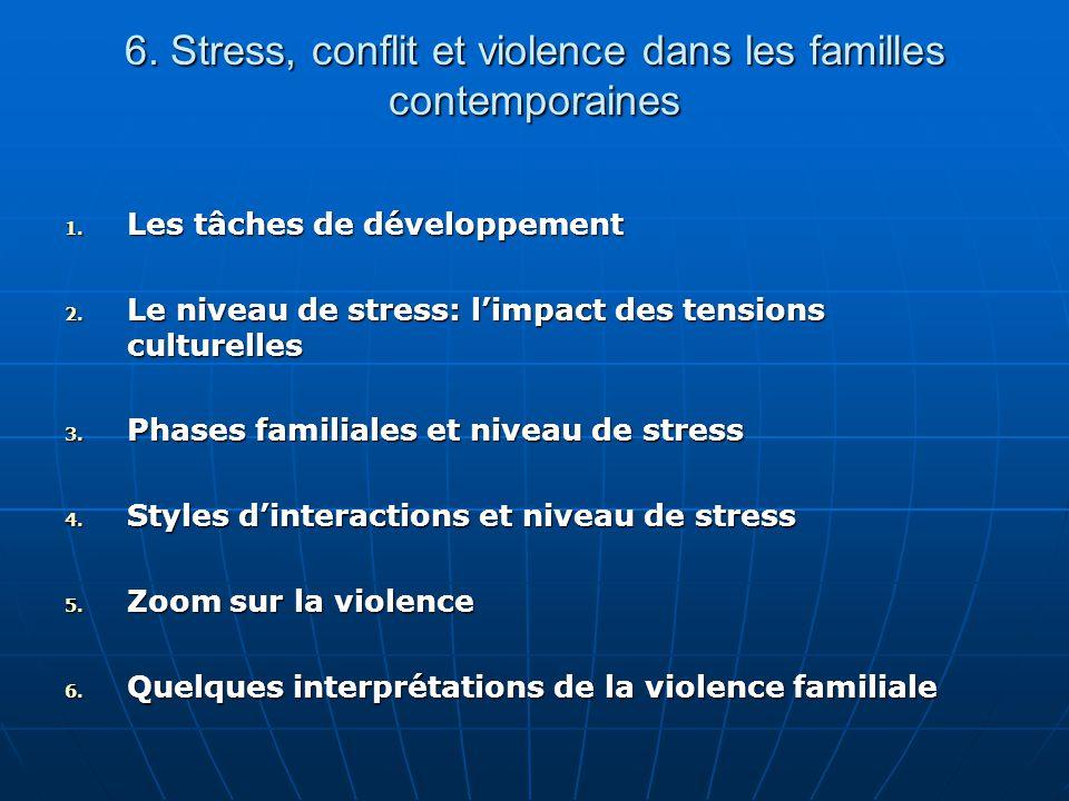 6. Stress, conflit et violence dans les familles contemporaines 1. Les tâches de développement 2. Le niveau de stress: limpact des tensions culturelle