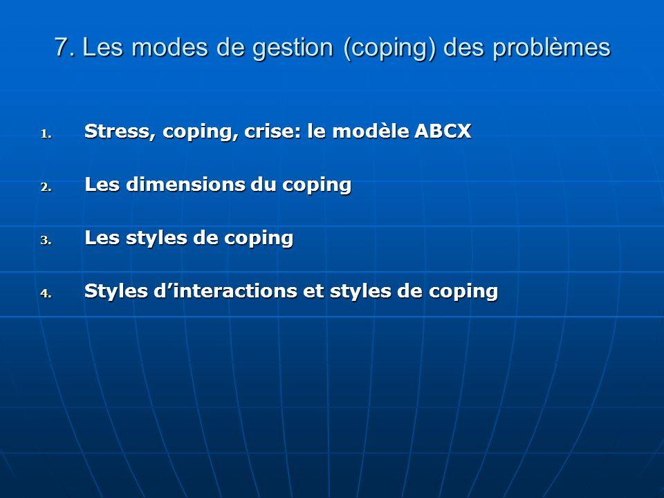 7. Les modes de gestion (coping) des problèmes 1. Stress, coping, crise: le modèle ABCX 2. Les dimensions du coping 3. Les styles de coping 4. Styles