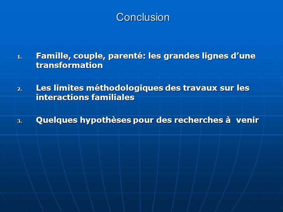 Conclusion Conclusion 1. Famille, couple, parenté: les grandes lignes dune transformation 2. Les limites méthodologiques des travaux sur les interacti
