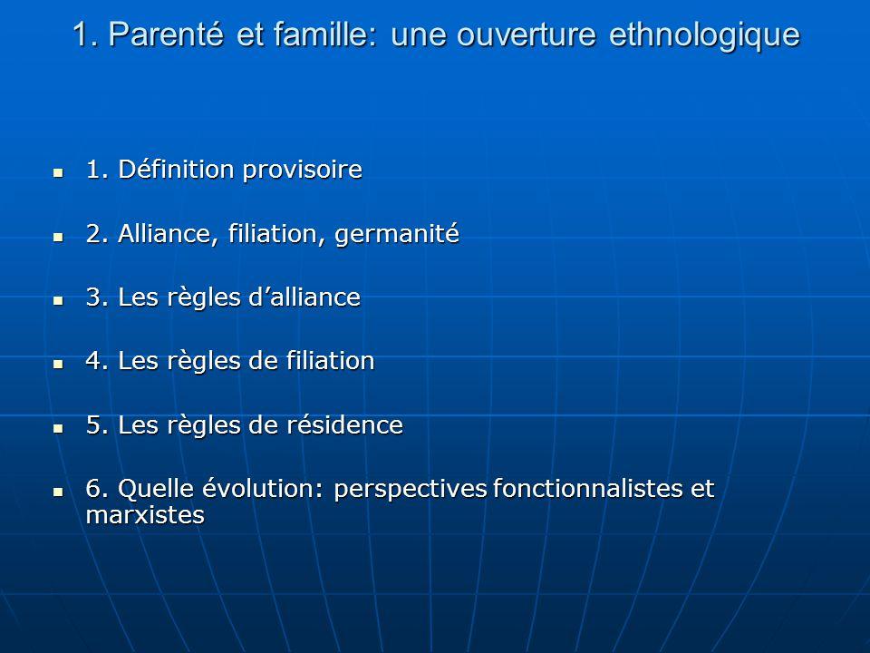 1. Parenté et famille: une ouverture ethnologique 1. Définition provisoire 1. Définition provisoire 2. Alliance, filiation, germanité 2. Alliance, fil